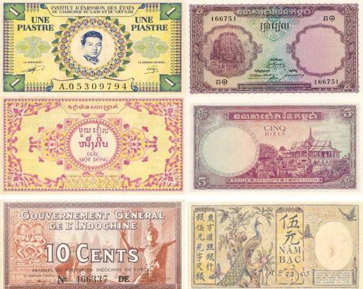 La piastre indochinoise divisée en cents est introduit par les premiers colons français en 1848.