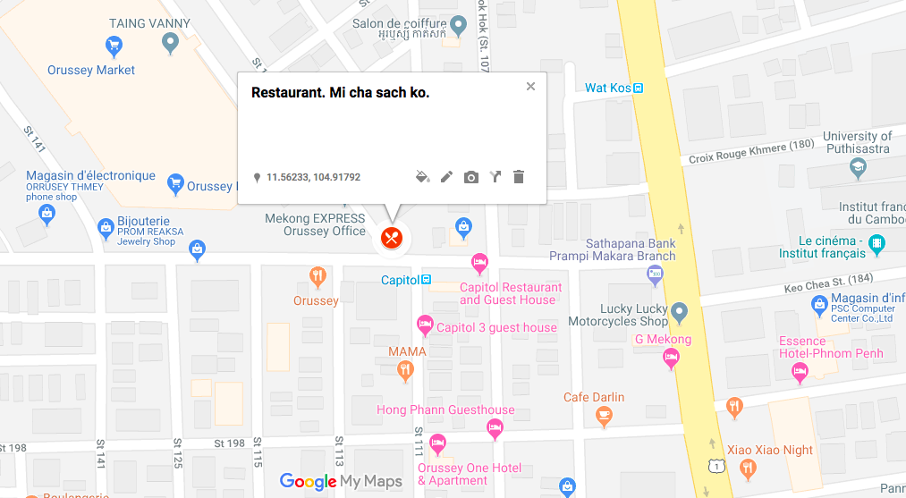 Le restaurant se trouve ici, en face du marché Orussey, à l'angle des rues 111 et 182