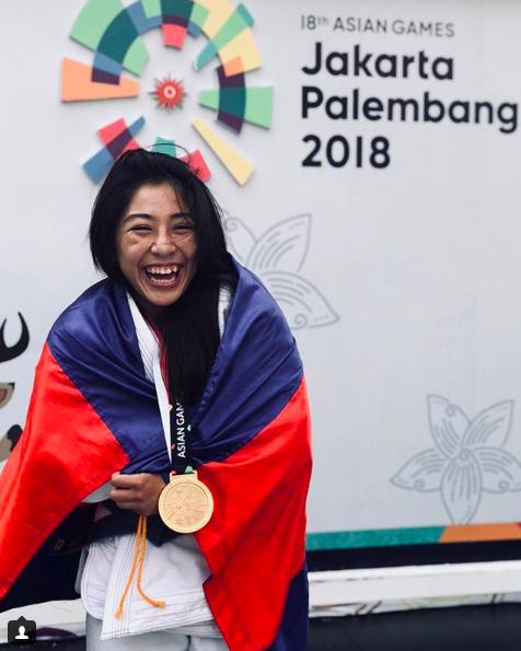 Une joie communicative pour la jeune khmère après sa victoire aux Jeux Asiatiques. ©Instagram jessa.khan