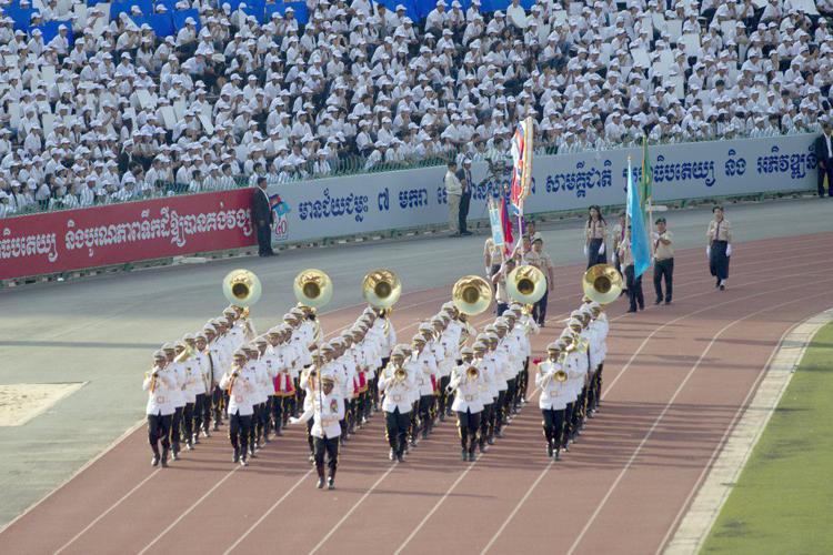 La fanfare a également défilé au Stade Olympique, ajoutant l'ouïe au spectacle. ©AKP
